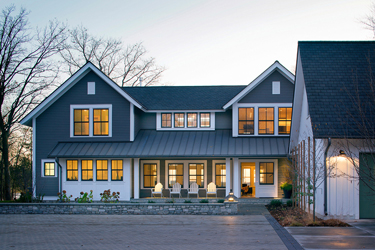 Blue House White Windows
